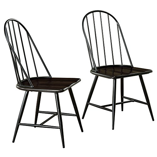 Target Marketing Systems Windsor Set Of 2 Mixed Media Spindle Back Dining Chairs With Saddle Seat Set Of 2 BlackEspresso 0