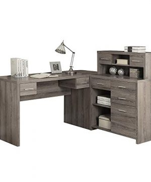 Thaweesuk Shop 60 Executive L Shaped Office Desk With Hutch Furniture Corner Computer Workstation Home Sturdy Wood Particle Board Hollow Core Laminate MDF 59 W X 6275 D X 4475 H Of Set 0 300x360