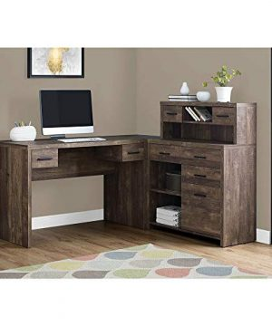 Thaweesuk Shop Brown 60 Executive L Shaped Office Desk With Hutch Furniture Corner Computer Workstation Home Sturdy Wood Particle Board Hollow Core Laminate MDF 59 W X 6275 D X 4475 H Of Set 0 0 300x360