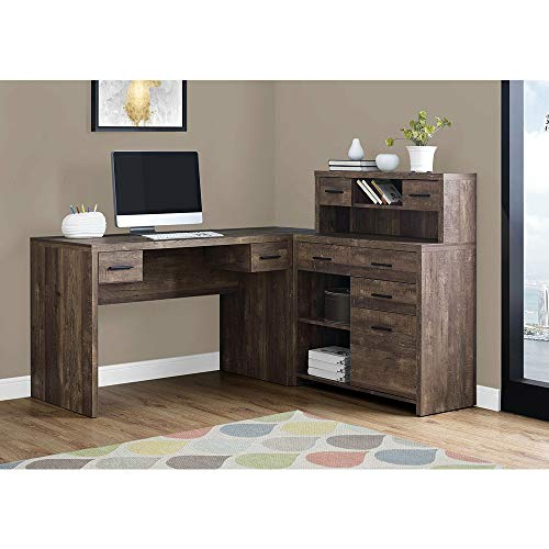 Thaweesuk Shop Brown 60 Executive L Shaped Office Desk With Hutch Furniture Corner Computer Workstation Home Sturdy Wood Particle Board Hollow Core Laminate MDF 59 W X 6275 D X 4475 H Of Set 0 0