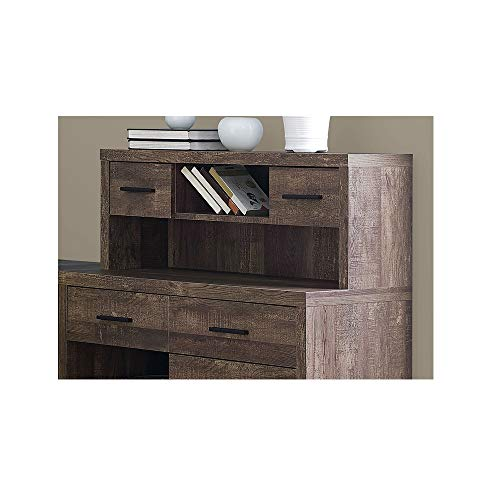 Thaweesuk Shop Brown 60 Executive L Shaped Office Desk With Hutch Furniture Corner Computer Workstation Home Sturdy Wood Particle Board Hollow Core Laminate MDF 59 W X 6275 D X 4475 H Of Set 0 2