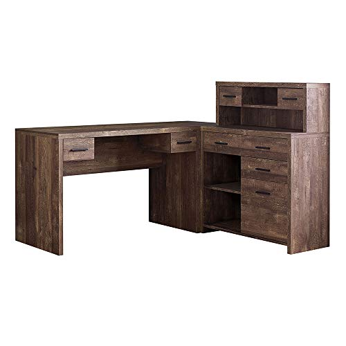 Thaweesuk Shop Brown 60 Executive L Shaped Office Desk With Hutch Furniture Corner Computer Workstation Home Sturdy Wood Particle Board Hollow Core Laminate MDF 59 W X 6275 D X 4475 H Of Set 0