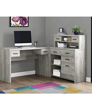 Thaweesuk Shop Grey 60 Executive L Shaped Office Desk With Hutch Furniture Corner Computer Workstation Home Sturdy Wood Particle Board Hollow Core Laminate MDF 59 W X 6275 D X 4475 H 0 0 300x360