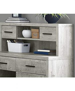 Thaweesuk Shop Grey 60 Executive L Shaped Office Desk With Hutch Furniture Corner Computer Workstation Home Sturdy Wood Particle Board Hollow Core Laminate MDF 59 W X 6275 D X 4475 H 0 1 300x360