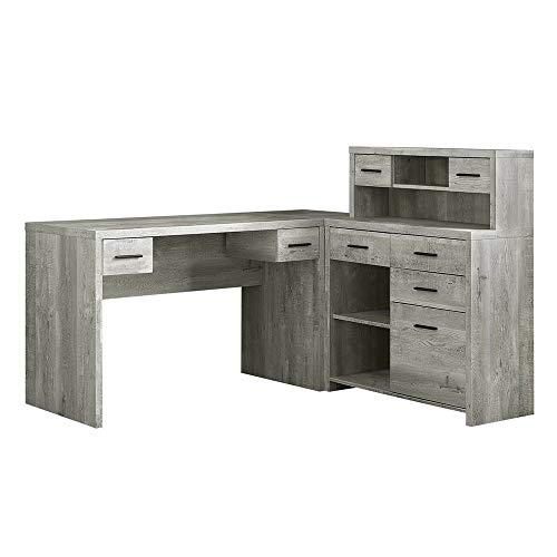 Thaweesuk Shop Grey 60 Executive L Shaped Office Desk With Hutch Furniture Corner Computer Workstation Home Sturdy Wood Particle Board Hollow Core Laminate MDF 59 W X 6275 D X 4475 H 0