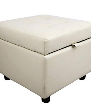 Tufted Leather Square Flip Top Storage Ottoman Cube Foot Rest 0 300x360