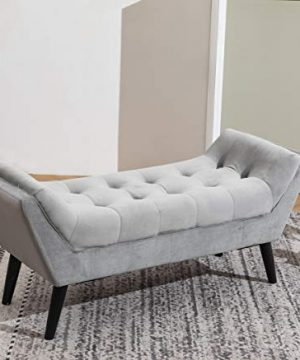 Tufted Upholstered Bench Fabric Ottoman Bench For Bedroom Living Room Entryway Hallway Gray With Wood Legs 0 0 300x360