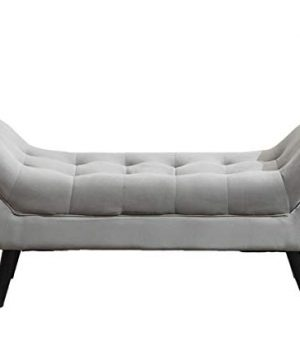 Tufted Upholstered Bench Fabric Ottoman Bench For Bedroom Living Room Entryway Hallway Gray With Wood Legs 0 1 300x360