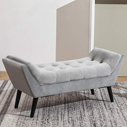 Tufted Upholstered Bench Fabric Ottoman Bench For Bedroom Living Room Entryway Hallway Gray With Wood Legs 0 2