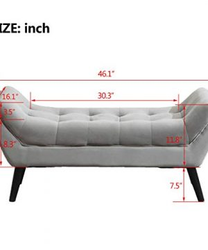 Tufted Upholstered Bench Fabric Ottoman Bench For Bedroom Living Room Entryway Hallway Gray With Wood Legs 0 3 300x360