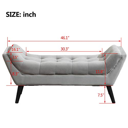 Tufted Upholstered Bench Fabric Ottoman Bench For Bedroom Living Room Entryway Hallway Gray With Wood Legs 0 3