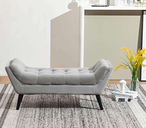 Tufted Upholstered Bench Fabric Ottoman Bench For Bedroom Living Room Entryway Hallway Gray With Wood Legs 0