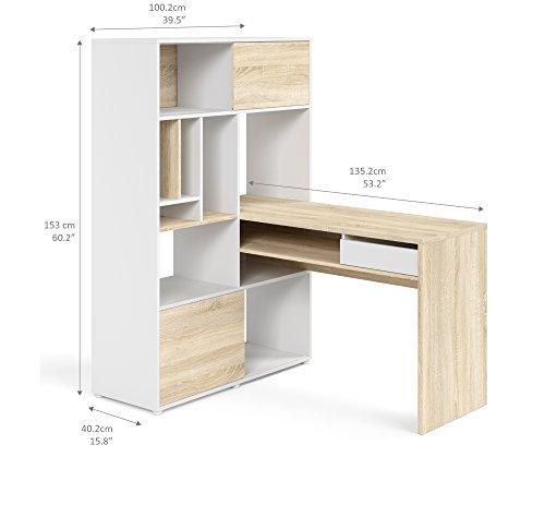 Tvilum Weston 1 Drawer 2 Sliding Door Desk WhiteOak Structure 0 0