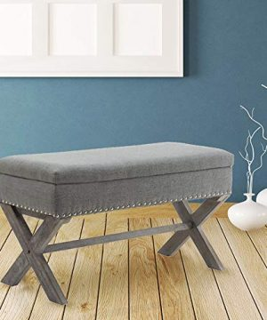 Upholstered Storage Benches Fabric Bed Side Bench Ottoman With X Shaped Rubber Wood Legs For PatioBedroomLiving RoomDining RoomHallway Gray 0 300x360
