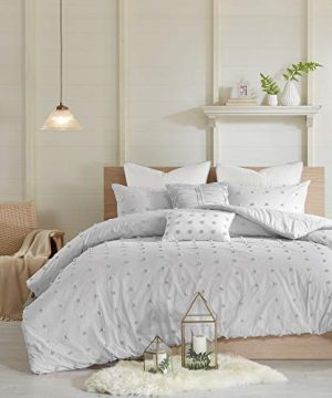 Urban Habitat Brooklyn 5 Pieces Cotton Tufted Jacquard Bedding Comforter Set For Bedroom FullQueen88x92 Grey 0 0 300x360
