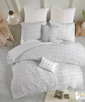 Urban Habitat Brooklyn 5 Pieces Cotton Tufted Jacquard Bedding Comforter Set For Bedroom FullQueen88x92 Grey 0 300x360