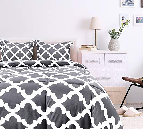 Utopia Bedding Printed Comforter Set Full Grey With 2 Pillow Shams Luxurious Brushed Microfiber Down Alternative Comforter Soft And Comfortable Machine Washable 0 0