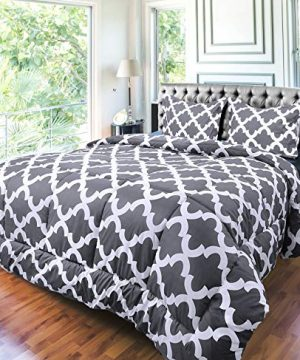 Utopia Bedding Printed Comforter Set Full Grey With 2 Pillow Shams Luxurious Brushed Microfiber Down Alternative Comforter Soft And Comfortable Machine Washable 0 2 300x360