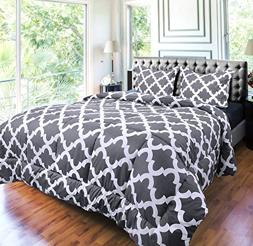 Utopia Bedding Printed Comforter Set Full Grey With 2 Pillow Shams Luxurious Brushed Microfiber Down Alternative Comforter Soft And Comfortable Machine Washable 0 2