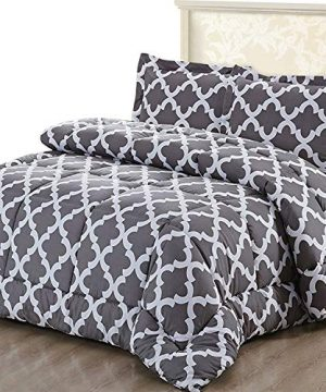 Utopia Bedding Printed Comforter Set Full Grey With 2 Pillow Shams Luxurious Brushed Microfiber Down Alternative Comforter Soft And Comfortable Machine Washable 0 300x360
