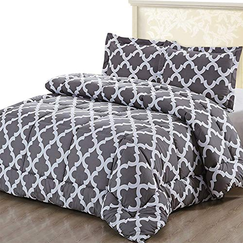 Utopia Bedding Printed Comforter Set Full Grey With 2 Pillow Shams Luxurious Brushed Microfiber Down Alternative Comforter Soft And Comfortable Machine Washable 0