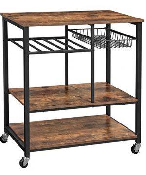VASAGLE ALINRU Kitchen Cart Kitchen Bakers Rack Utility Storage Shelf With Bottle Holder Industrial Microwave Stand Rustic Brown UKKS80X 0 300x360
