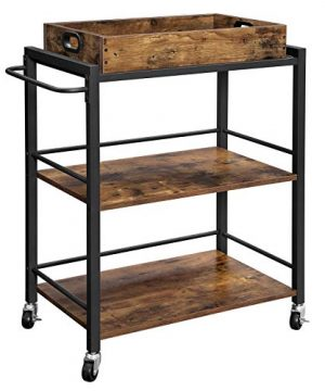 VASAGLE ALINRU Kitchen Serving Cart With Removable Tray 3 Tier Kitchen Utility Cart On Wheels With Storage Universal Casters With Brakes Leveling Feet Rustic Brown ULRC72X 0 300x360