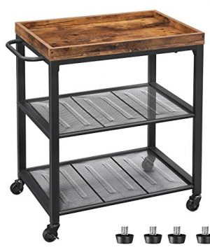 VASAGLE INDESTIC Kitchen Serving Cart Universal Casters With Brakes Leveling Feet Kitchen Shelf With Mesh Shelves 236 X 157 X 295 Inches Rustic Brown ULRC75BX 0 300x360