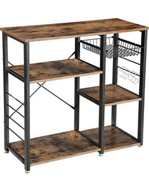 VASAGLE Industrial Kitchen Bakers Rack Coffee Bar Microwave Oven Stand Metal Frame Wire Basket 6 Hooks Mini Oven Spices Utensils Simple Assembly Wood Look UKKS90X 0 300x360