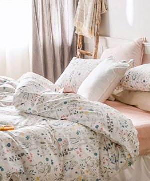 VClife Cotton Bedding Sets Twin Floral Duvet Cover Sets Soft Lightweight Botanical Flowers White Twin Bedding Collections Farmhouse Duvet Cover Sets Twin For Girl Women Teen Girls No Comforter 0 0 300x360