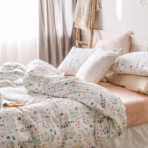 VClife Cotton Bedding Sets Twin Floral Duvet Cover Sets Soft Lightweight Botanical Flowers White Twin Bedding Collections Farmhouse Duvet Cover Sets Twin For Girl Women Teen Girls No Comforter 0 0