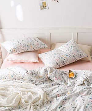 VClife Cotton Bedding Sets Twin Floral Duvet Cover Sets Soft Lightweight Botanical Flowers White Twin Bedding Collections Farmhouse Duvet Cover Sets Twin For Girl Women Teen Girls No Comforter 0 1 300x360