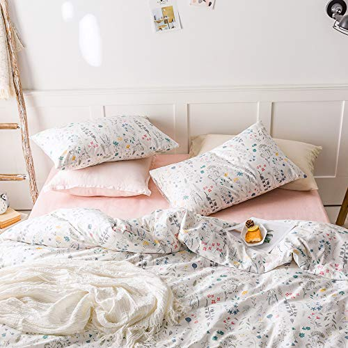 VClife Cotton Bedding Sets Twin Floral Duvet Cover Sets Soft Lightweight Botanical Flowers White Twin Bedding Collections Farmhouse Duvet Cover Sets Twin For Girl Women Teen Girls No Comforter 0 1