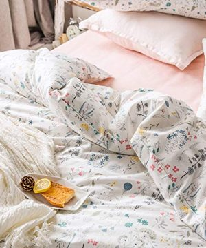 VClife Cotton Bedding Sets Twin Floral Duvet Cover Sets Soft Lightweight Botanical Flowers White Twin Bedding Collections Farmhouse Duvet Cover Sets Twin For Girl Women Teen Girls No Comforter 0 2 300x360