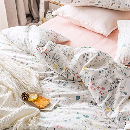 VClife Cotton Bedding Sets Twin Floral Duvet Cover Sets Soft Lightweight Botanical Flowers White Twin Bedding Collections Farmhouse Duvet Cover Sets Twin For Girl Women Teen Girls No Comforter 0 2