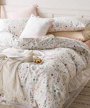 VClife Cotton Bedding Sets Twin Floral Duvet Cover Sets Soft Lightweight Botanical Flowers White Twin Bedding Collections Farmhouse Duvet Cover Sets Twin For Girl Women Teen Girls No Comforter 0 300x360