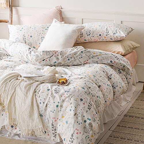 VClife Cotton Bedding Sets Twin Floral Duvet Cover Sets Soft Lightweight Botanical Flowers White Twin Bedding Collections Farmhouse Duvet Cover Sets Twin For Girl Women Teen Girls No Comforter 0