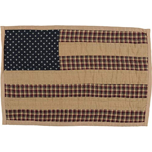 VHC Brands Americana Primitive Tabletop Kitchen Patriotic Patch Quilted Placemat Set Of 6 12 X 18 Deep Red 0 0