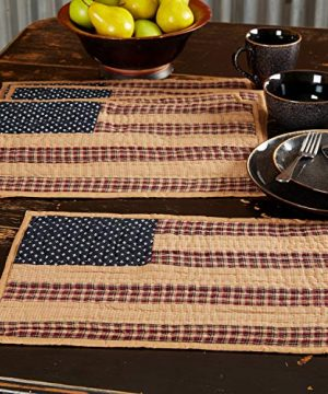 VHC Brands Americana Primitive Tabletop Kitchen Patriotic Patch Quilted Placemat Set Of 6 12 X 18 Deep Red 0 2 300x360