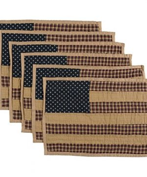 VHC Brands Americana Primitive Tabletop Kitchen Patriotic Patch Quilted Placemat Set Of 6 12 X 18 Deep Red 0 300x360