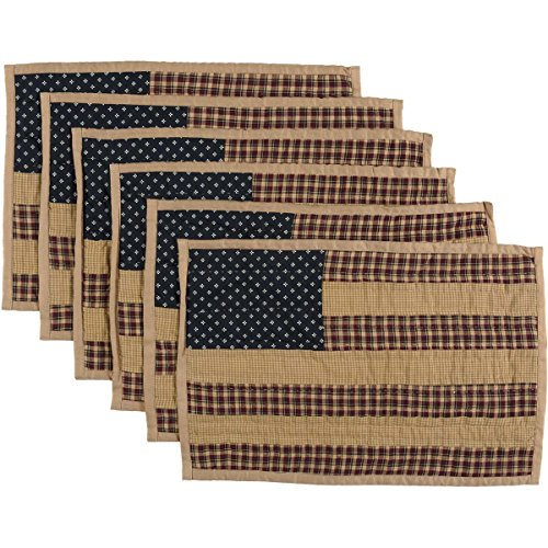 VHC Brands Americana Primitive Tabletop Kitchen Patriotic Patch Quilted Placemat Set Of 6 12 X 18 Deep Red 0