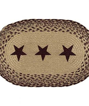 VHC Brands Classic Country Primitive Tabletop Kitchen Tan Jute Stencil Stars Placemat Set Of 6 12 X 18 Burgundy Red 0 0 300x360