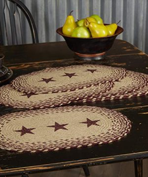 VHC Brands Classic Country Primitive Tabletop Kitchen Tan Jute Stencil Stars Placemat Set Of 6 12 X 18 Burgundy Red 0 2 300x360