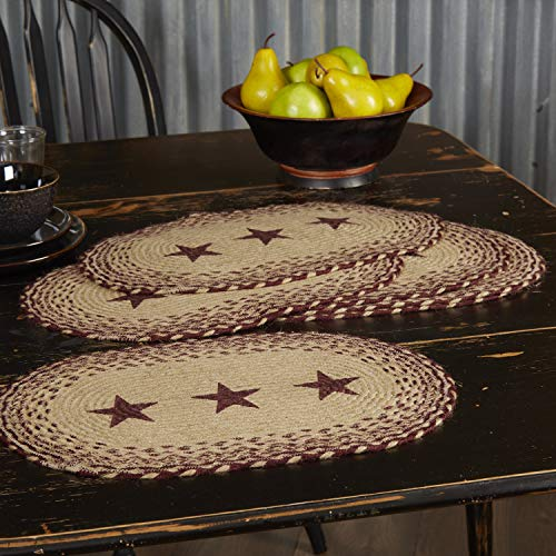 VHC Brands Classic Country Primitive Tabletop Kitchen Tan Jute Stencil Stars Placemat Set Of 6 12 X 18 Burgundy Red 0 2