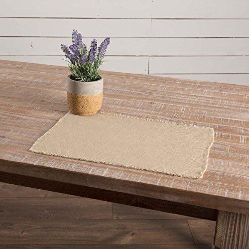 VHC Brands Farmhouse Holiday Tabletop Kitchen Burlap Vintage White Table Dcor Placemat Set 12x18 Beige 0 0
