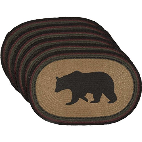 VHC Brands Rustic Tabletop Kitchen Wyatt Bear Jute Stenciled Textured Nature Print Oval Table Dcor Placemat Set 12x18 Tan 0