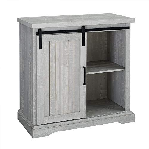 WE Furniture Modern Farmhouse Buffet Entryway Bar Cabinet Storage 32 Inch Grey 0 3
