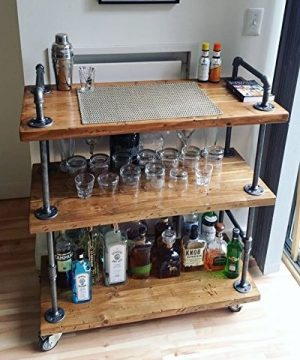 WGX Design For You Wood And Metal Wine Rack With Wheels Kicthen Bar Dining Room Tea Wine Holder Serving Cart Furniture 0 300x360