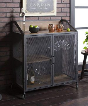 Walker Edison Furniture Company Industrial Wood And Metal Bar Cabinet With Wheels Wine Glass And Bottle Kitchen Storage Shelf 33 Inch Reclaimed Barnwood 0 300x360