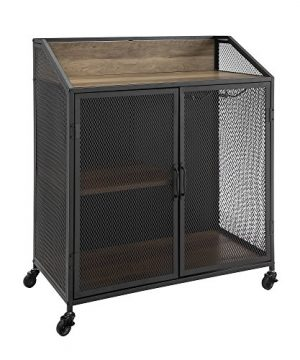 Walker Edison Furniture Company Industrial Wood And Metal Bar Cabinet With Wheels Wine Glass And Bottle Kitchen Storage Shelf 33 Inch Reclaimed Barnwood 0 4 300x360